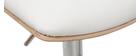 Sgabello da bar design regolabile bianco e legno chiaro PANACH