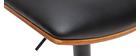 Sgabello da bar design regolabile nero e legno scuro PANACH