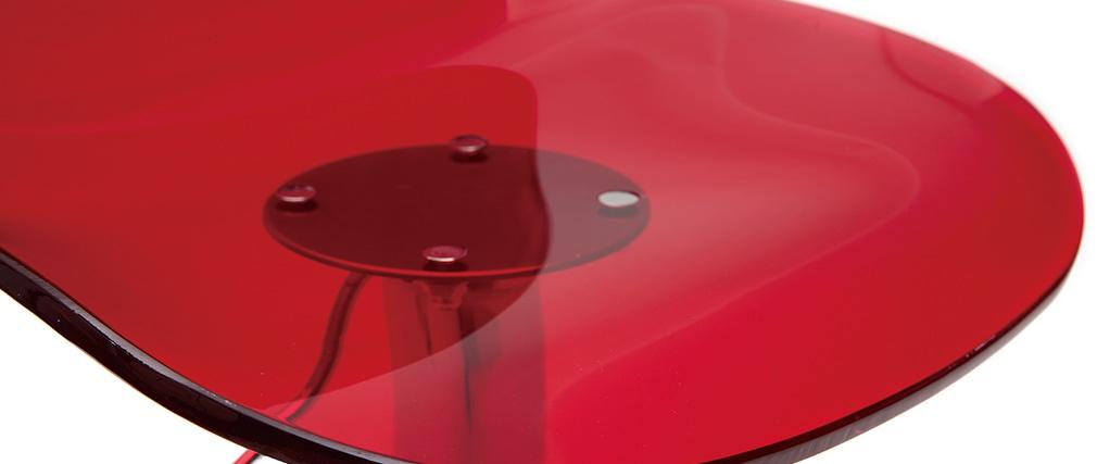 Sgabello da bar design rosso trasparente GALILEO