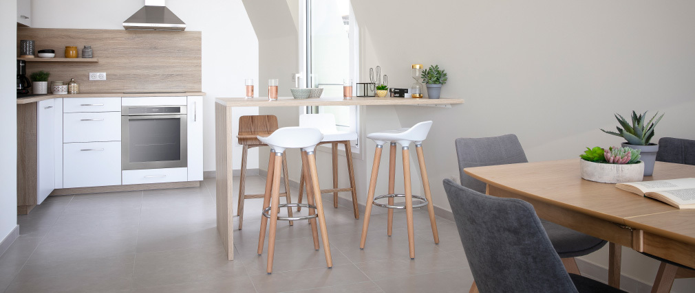 Sgabello da bar design scandinavo bianco GILDA