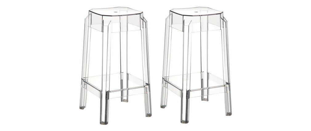 Sgabello da bar design trasparente 75cm set di 2 CLEAR