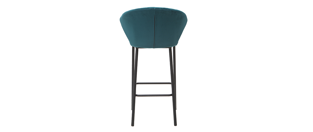 Sgabello da bar design velluto blu petrolio 68 cm DALLY