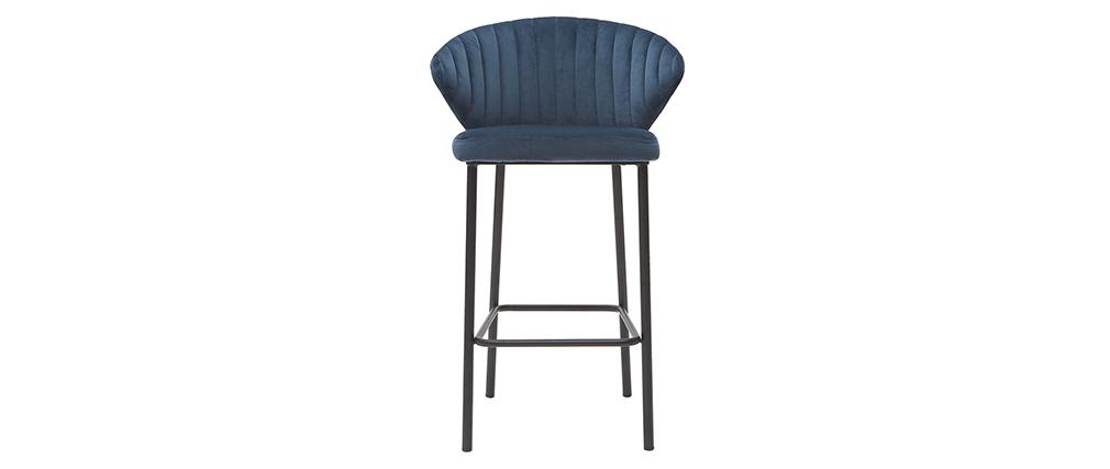 Sgabello da bar design velluto blu scuro 68 cm DALLY