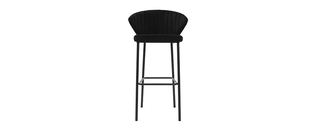 Sgabello da bar design velluto nero DALLY
