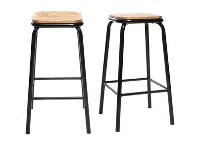 Sgabello da bar, di design, colore: Nero e legno scuro, 65 cm, lotto di 2, modello: MEMPHIS