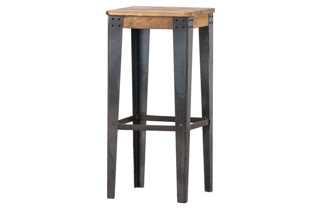 Sgabello da bar industriale in acciaio e legno dimensioni: 75 cm