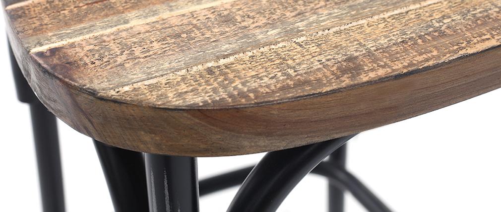 Sgabello da bar industriale in megno e metallo vecchio nero 65 cm JAKE