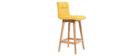 Sgabello da bar legno e giallo 65cm gruppo di 2 KLARIS
