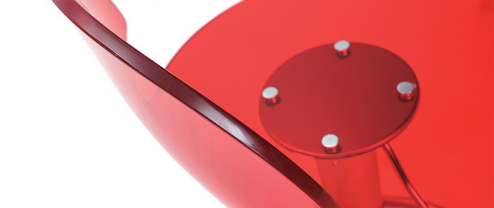 Sgabello da bar ORION rosso trasparente