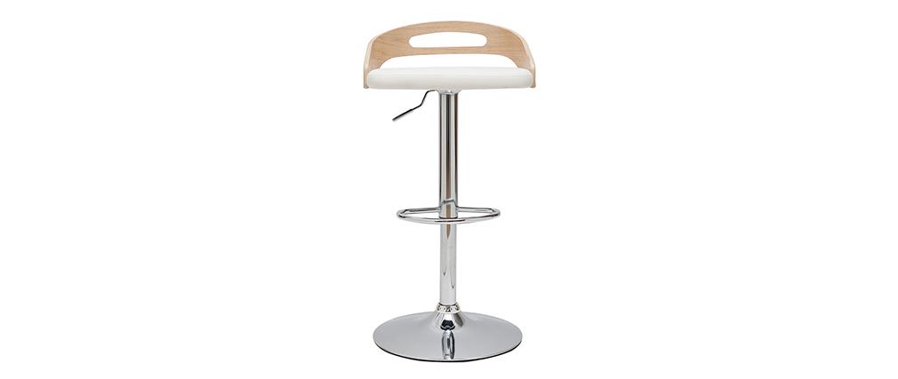 Sgabello da bar regolabile design legno chiaro e bianco MANO