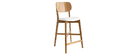 Sgabello da bar rovere e sedile bianco H65 cm LUCIA
