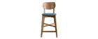 Sgabello da bar rovere e sedile grigio chiné H65 cm LUCIA