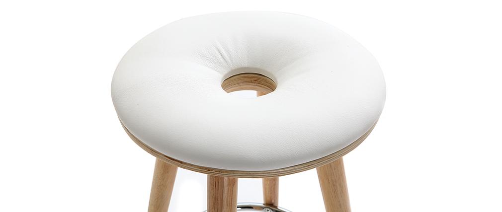 Sgabello da bar scandinavo 65cm PU bianco piedi legno chiaro NORDECO