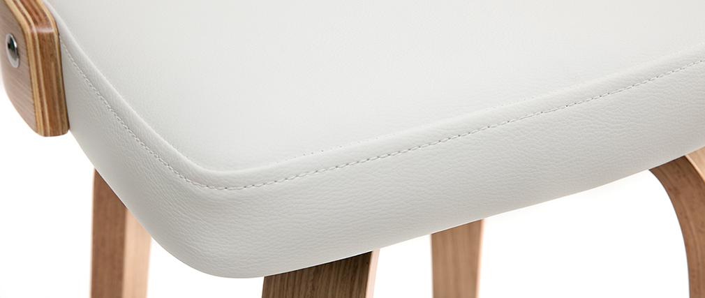 Sgabello da bar scandinavo bianco e legno chiaro GARBO