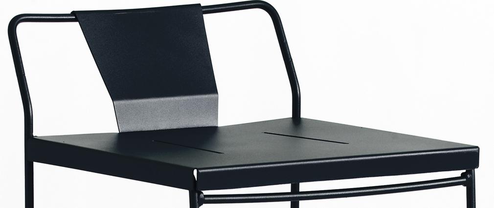 Sgabello da giardino design metallo nero 65cm TENERIFE