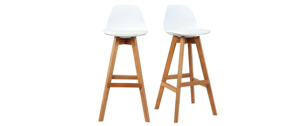 Sgabello design bianco e legno 65cm gruppo di due MINI PAULINE
