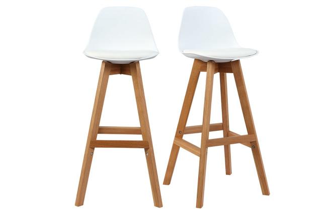 Sgabello design bianco e legno cm gruppo di due mini pauline