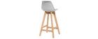 Sgabello design grigio chiaro e legno 65cm gruppo di due MINI PAULINE