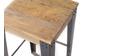 Sgabello design industriale metallo e legno 65cm MADISON