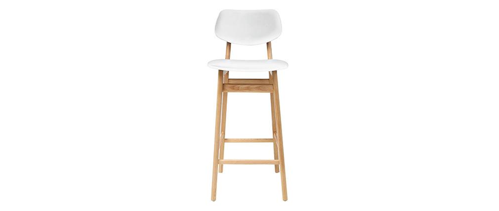 Sgabello / sedia bar design colore bianco e legno naturale NORDECO