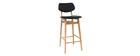 Sgabello / sedia bar design colore nero e legno naturale NORDECO