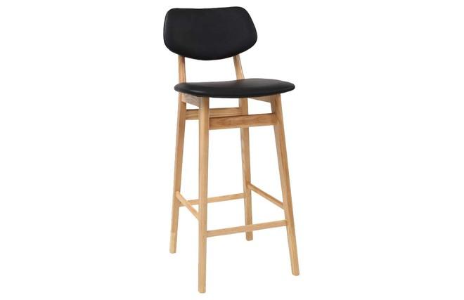 Sgabello sedia bar design colore nero e legno naturale nordeco