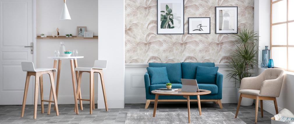Sgabello / sedia da bar design legno naturale e bianco scandinavo 75 cm BALTIK