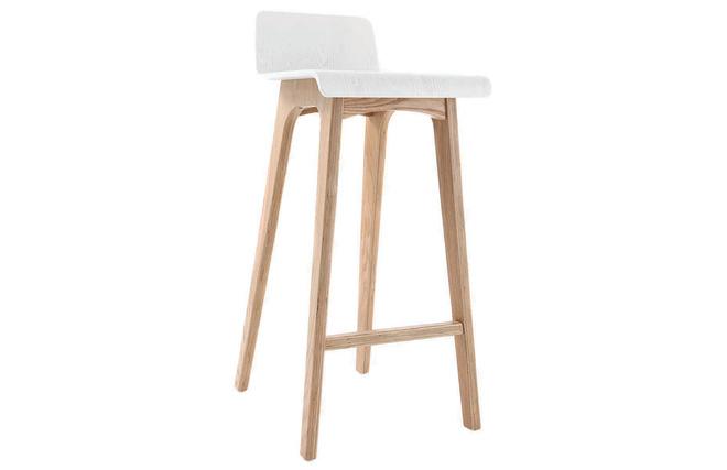 Sgabello sedia da bar design legno naturale e bianco scandinavo
