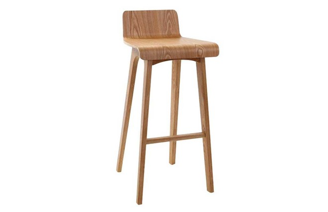 Sgabello sedia da bar design legno naturale scandinavo 75 cm