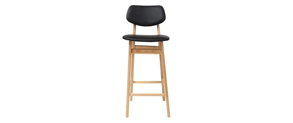 Sgabello / sedia da bar design nero e legno naturale 65 cm NORDECO