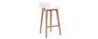 Sgabello / Sedia da bar scandinavo 65cm bianco gambe in legno BALTIK