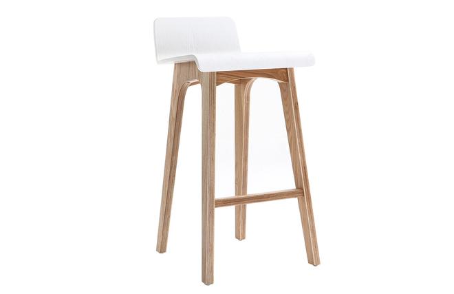 Sgabello sedia da bar scandinavo 65cm bianco gambe in legno baltik