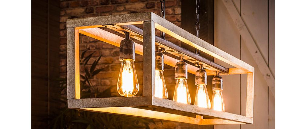 Sospensione in legno di mango con 5 lampadine L125 cm BOSCO