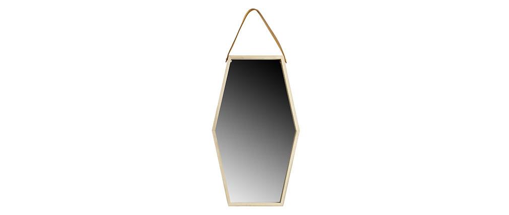 Specchio da parete esagonale, in legno e pelle, dimensioni: 55x32cm, modello: HEXA