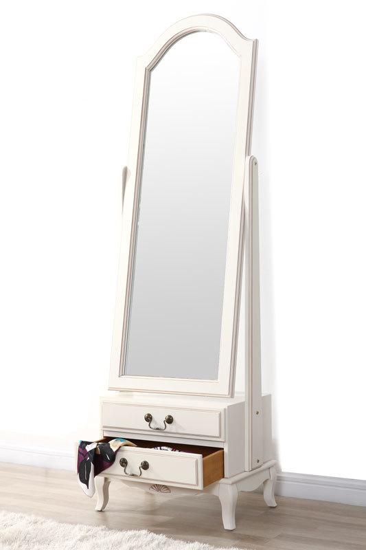 Specchio psyche barocco legno bianco bianca miliboo for Espejos de pie en madera