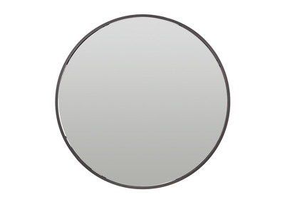 Specchio rotondo, con spazio per riporre i propri oggetti, in metallo, colore: Nero, diametro: 60cm, modello: DOT