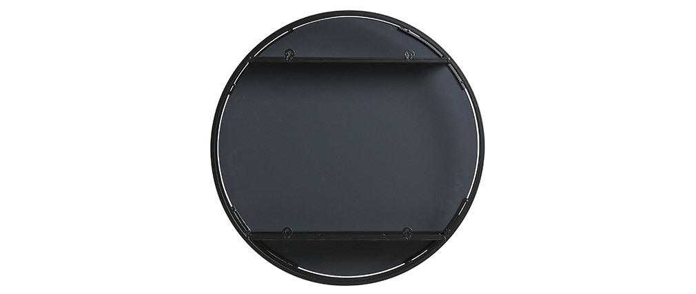 Specchio rotondo con spazio per riporre i propri oggetti in metallo Nero 60cm DOT