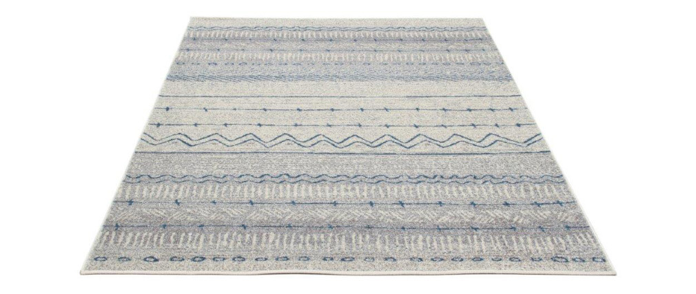 Tappeto a motivi beige e blu 150 x 220 cm TRIBAL