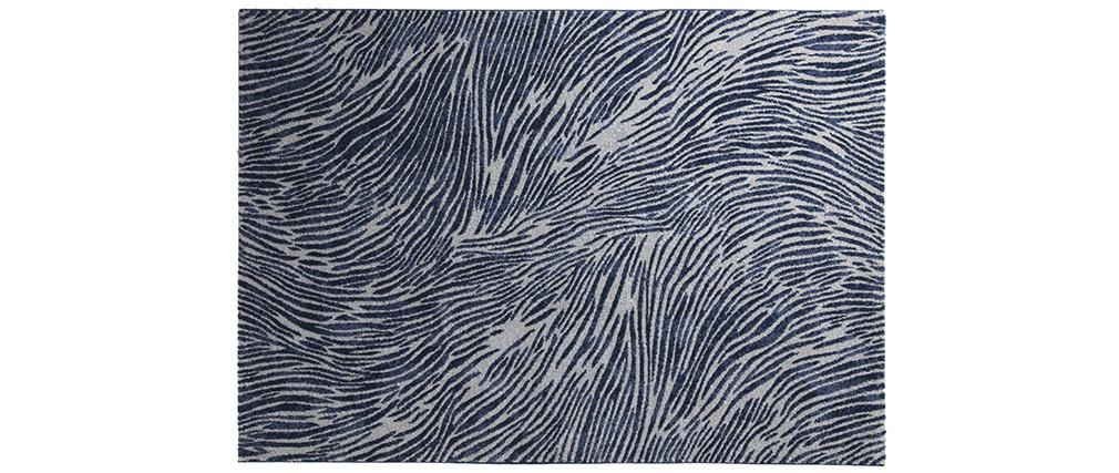 Tappeto blu e grigio con motivi 160 x 230 cm SEA