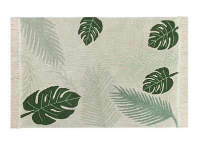 Tappeto con motivo foglie, colore: Verde e Naturale, dimensioni: 140x200cm, modello: JUNGLE