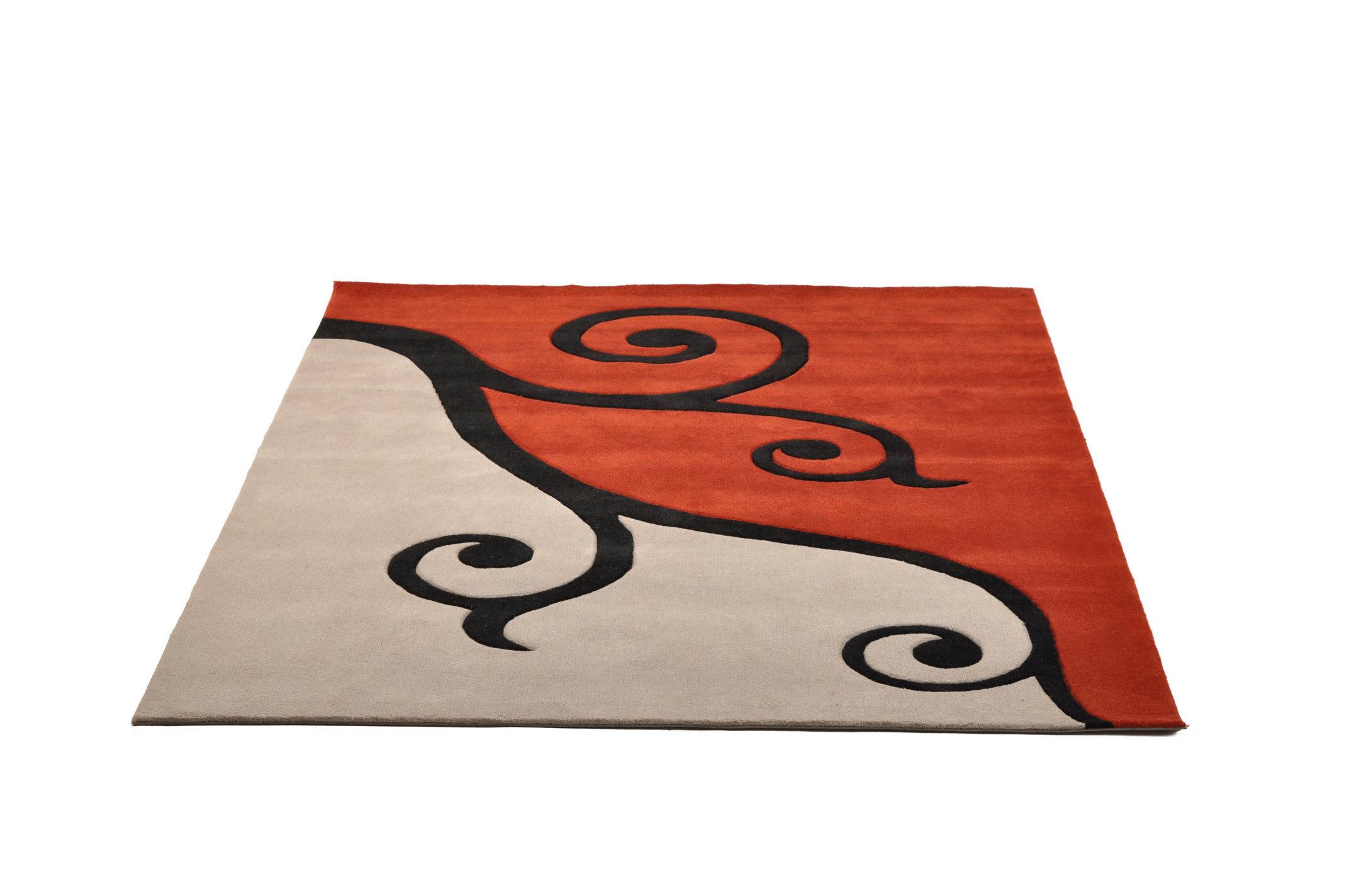 Tappeto design CLEMATITE rosso e grigio - Miliboo