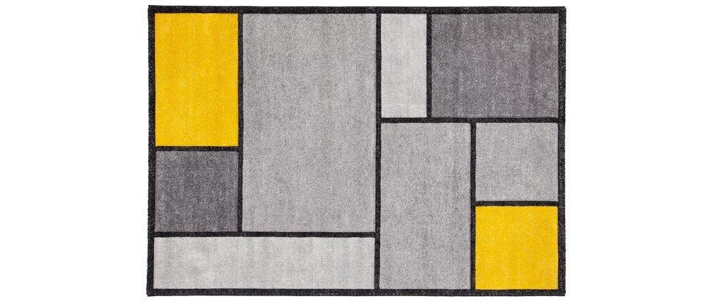 Tappeto di design giallo e grigio 160 x 230 cm - CUBIK