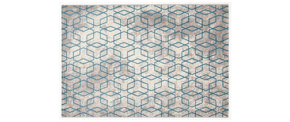 Tappeto greggio con motivi blu 160 x 230 cm SOHO