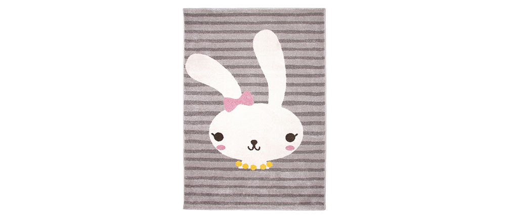 Tappeto grigio bambino motivo coniglio intrecciato 120x170cm BONNIE