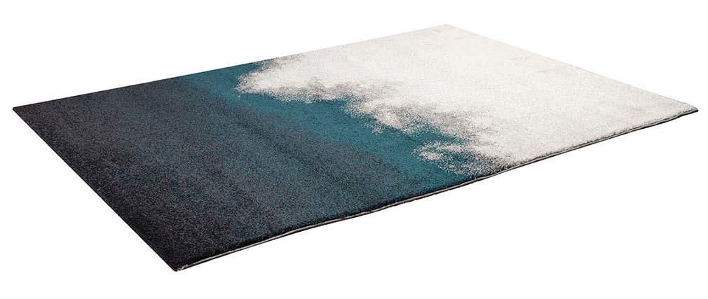 Tappeto grigio e blu moderno in polipropilene 160x230 cm TEKOA