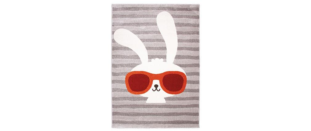 Tappeto grigio infanzia con disegno coniglio 120x170 cm CLYDE