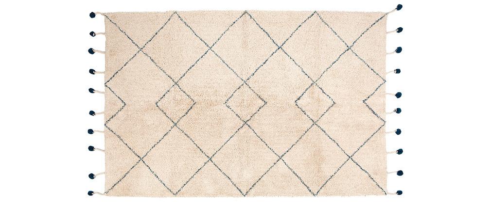 Tappeto in cotone naturale e pompon 110x170 cm TANVI