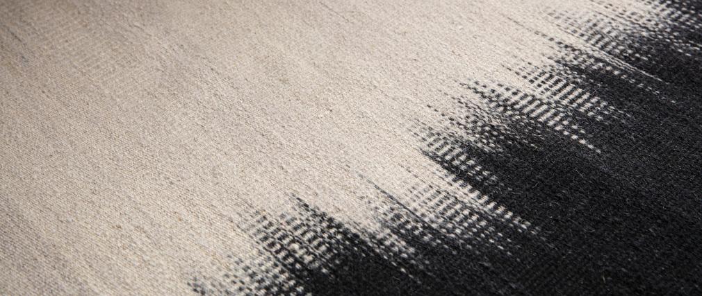 Tappeto in lana avorio e nero 160 x 230 cm IKAT
