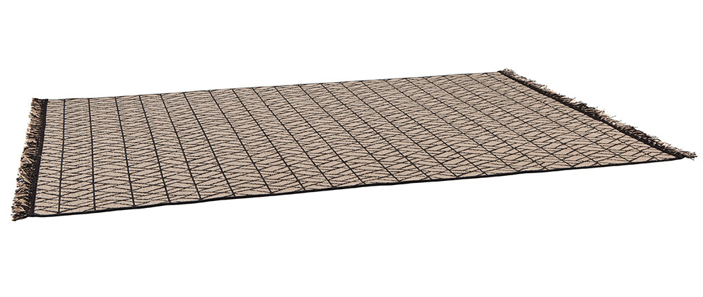 Tappeto moderno naturale con motivo grafico nero 160 x 230 cm ETNICA