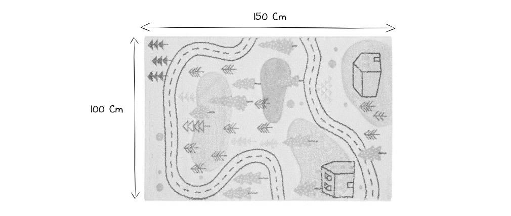 Tappeto per bambini motivo strada 100x150 cm NINO